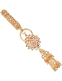 I Jewels Gold Plated Traditional Kundan & Pearl Chabi Challa/Challa Waist Key Chain For Women (KC02W)