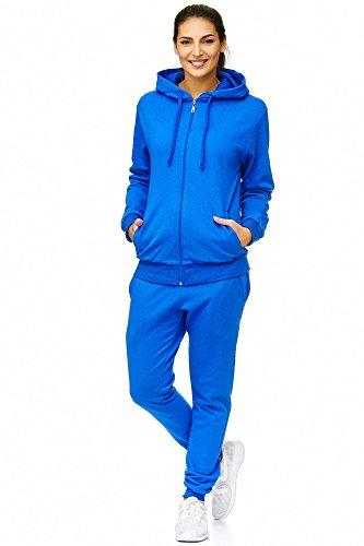 Violento Damen Jogging-Anzug | Uni 586 | Trainings-Anzug aus 100% Baumwolle | Trainings-Jacke mit Reißverschluss | Jogging-Hose mit Tunnelzug und Zugband (XXL, Blau)