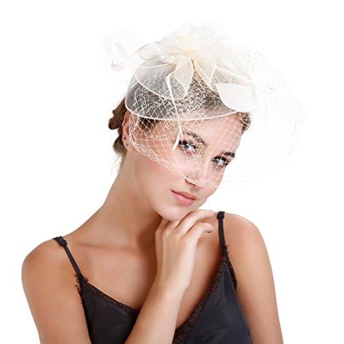 EEVASS Damen Fascinator Feder Gaze Blume Mesh Haarclip Cocktail Hochzeit Derby Hut (# Beige) - Braut Der Mutter Hüte