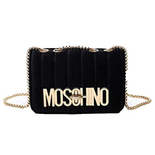 Frauen Umhängetasche Handtaschen neue Mode einfachen Samt Buchstaben Schulter diagonale Kette kleine quadratische Tasche (schwarz, 21 * 7 * 15cm)