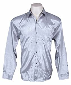 Men's Thai Silk Shirt Long Sleeved / Sleeves in Silver Size M