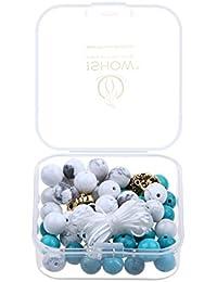 ISHOW Cabeza de león y yoga lava / turquesa / howlita / cristal / piedras con las líneas de jade de diversos estilos y cuerda elastica Caja para hacer su mismo brazaletes o collares