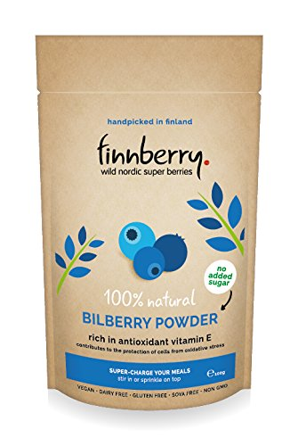 Finnberry 100% natural wild bilberry (wild blueberry) superberry powder (100g) with no added sugar