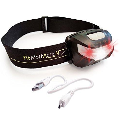 FitMotivaction Lampe frontale LED USB rechargeable ultra puissante noir - Cable USB inclus - 5 modes d'eclairage - Grande autonomie - Légère confortable et etanche - Idéale pour course, marche, camping, enfants, randonnée ou lampe de lecture