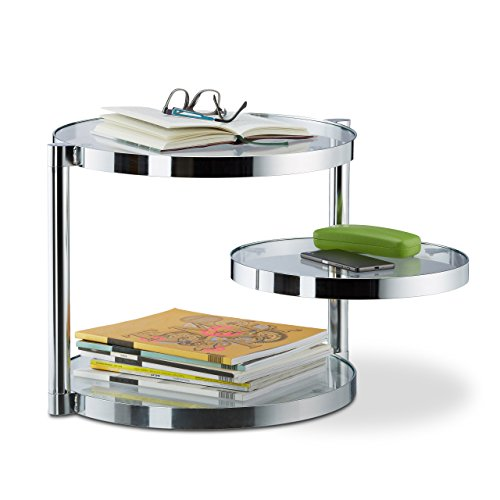Relaxdays Couchtisch aus Glas mit schwenkbarer Ablage, 3 runde Platten, Beistelltisch HxBxT: ca. 39 x 52 x 45 cm, silber