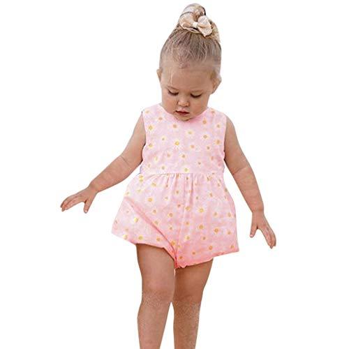 LEXUPE Säuglingsbaby-ärmellose Sonnenblumen-Druck-Bogen-Bodysuit-Spielanzug-Kleidung(Rosa,90)