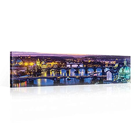City Prague River Bridges Canvas Print - Photo Print - O3 - 145cm x 45cm - Premium 260gsm Canvas, Hand-Finished, Solid MDF Frame - 2.6cm Thick - Integrated Hanging Hook - City and Urban Collection - (PP2200O3)