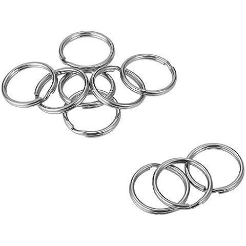 Valyria 1pc in acciaio inox rotondo split Rings portachiavi portachiavi Chiavi Holder, Acciaio inossidabile, silver tone, 23mmx2.5mm
