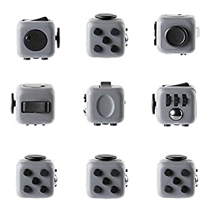FIDGET DICE 6 Sides Fidget Toy Cube Release Stress Anxiety and Relax Cube for Children and Adults, Black Gray
