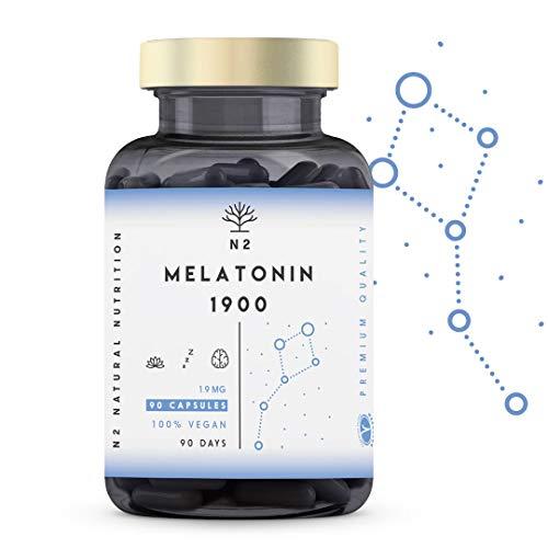 Mélatonine Fort Pur 1,9 mg avec 5HTP Griffonia et Vitamine B6 Améliore le Sommeil humeurs et le Repos. Réduire Troubles du Sommeil pour l'insomnie Jet Lag Stress Végan 90 Capsules N2 Natural Nutrition