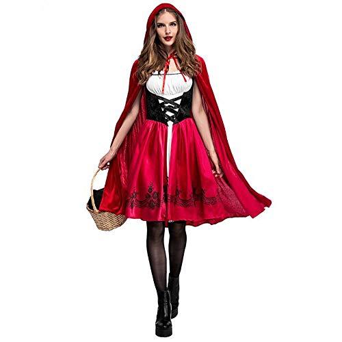 ZXX5211 Erwachsene weibliche Halloween kostüm kleine rotkäppchen Roben Damen Bestickt Kleid Party Mantel Kleid mädchen, - Das Böse Rotkäppchen Kostüm