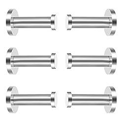6 Pieces Stainless Steel Wall-mount Robe Hook Coat Hook Towel Wall Hook, Brushed Nickel (2 Inch)