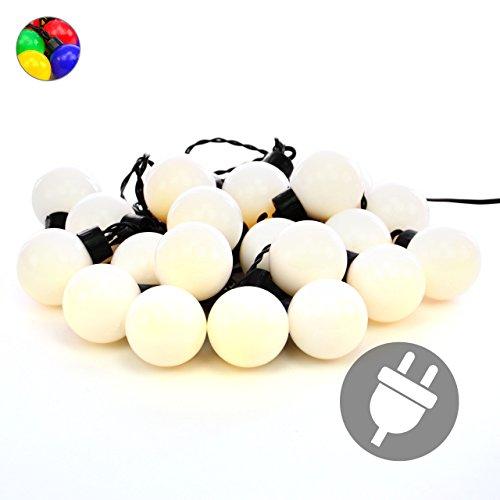 Nipach GmbH LED Partylichterkette Partybeleuchtung Lichterkette für Weihnachten Hochzeit Kindergeburtstag – 20 Leuchtkugeln mit Trafo – Innen & Außen – Warm-Weiß Ø 4 cm