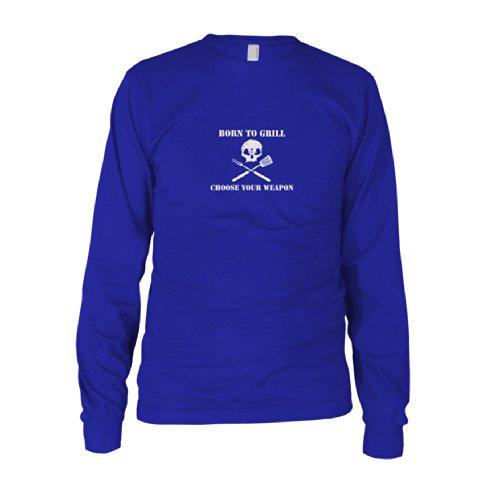 Born to Grill - Herren Langarm T-Shirt Blau
