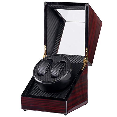 KYCD Automatic Watch Winder für 2 Uhren, rotierende Uhren Display Box Box Red Stripe,Schwarz