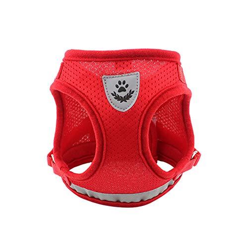 Vlunt Brustgeschirre für Hunde Reflektierende Ultimative Sicherheit Zugentlastende Netz Hundegeschirr Weste für Kleine, Mittelgroße Hunde, Haustiere Vest Harnesses - Rot, M -
