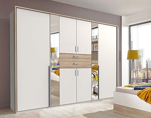 lifestyle4living Kleiderschrank 6-türig in weiß/Eiche-Dekor mit Schubladen | Drehtührenschrank mit Spiegeln und vielen Fächern ca. 270 cm