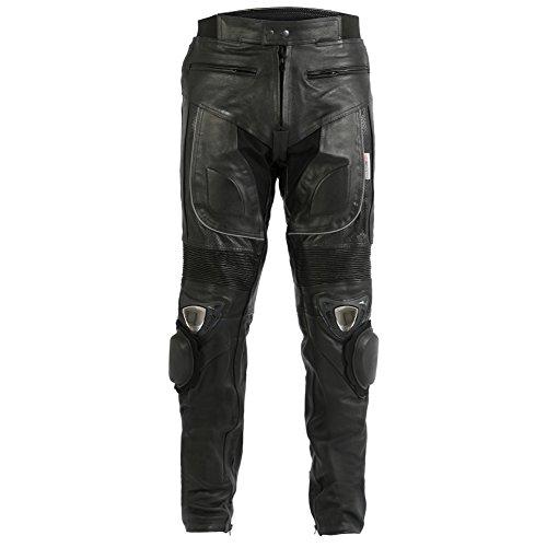 *Turin Motorcycle Wear – Herren – Motorradhose mit Metallschleifern – Leder – W36 L32*