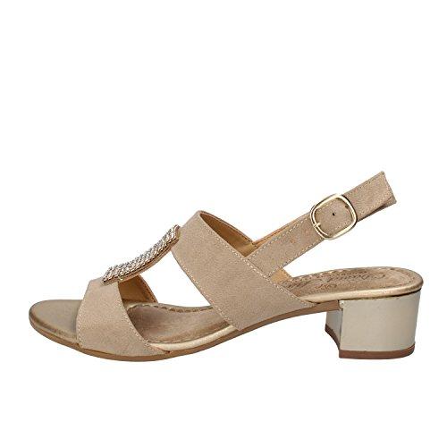 DAVID HARON sandali donna beige / nero camoscio strass (40 EU, Beige)