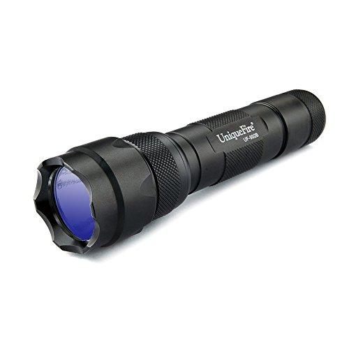 UniqueFire UF502B UV Linterna táctica de alta potencia, 395nm, linterna ultravioleta para joyería, detección de orina de mascotas, búsqueda de insectos