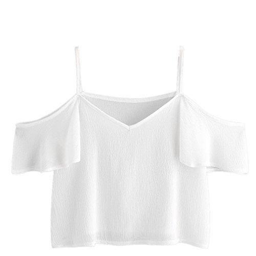YunYoud Frau Sommer Nadelstreifen Bluse Chiffon V-Ausschnitt Beiläufig Lose Tops Kurzarm Trägerlos Harness Hemd Strand Shirt Kleider (XL, Weiß) (Top Nadelstreifen-cami)