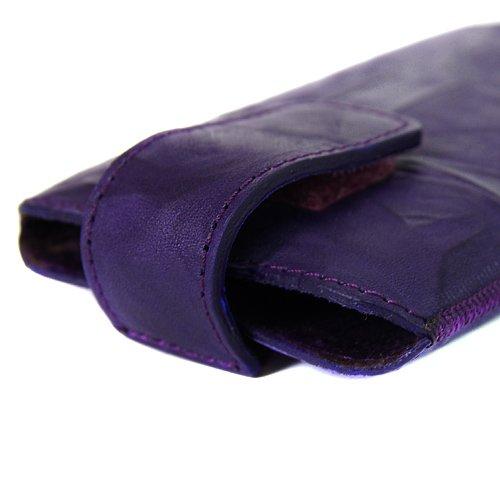 Blumax washed Ledertasche mit praktischer Ausziehhilfe für Apple iPhone 5 weiß lila