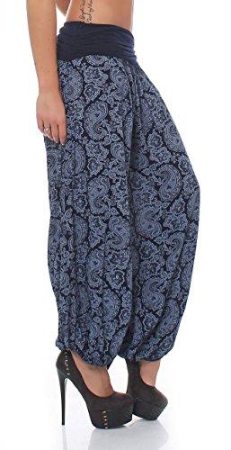 malito Damen Pumphose im Orient Design | Haremshose zum Tanzen | coole Pluderhose zum Chillen - Freizeithose 8580 Dunkelblau