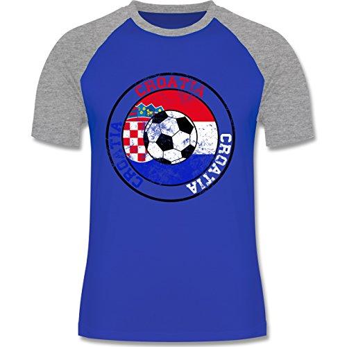 EM 2016 - Frankreich - Croatia Kreis & Fußball Vintage - zweifarbiges Baseballshirt für Männer Royalblau/Grau meliert