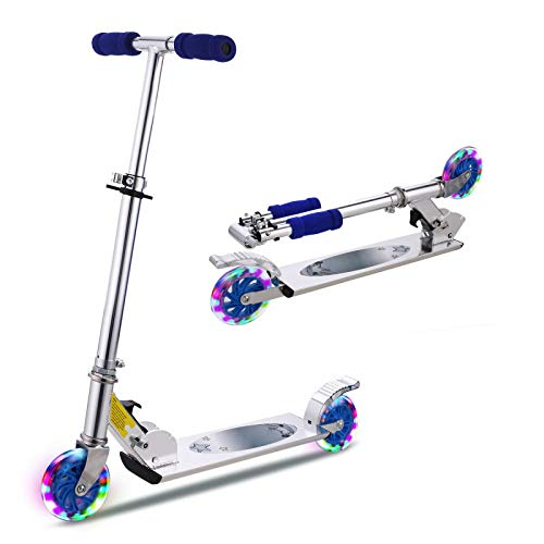 WeSkate Scooter Kinder Roller Faltbarer Einstellbarer LED 2-Rad-Tretroller für Kinder (blau)