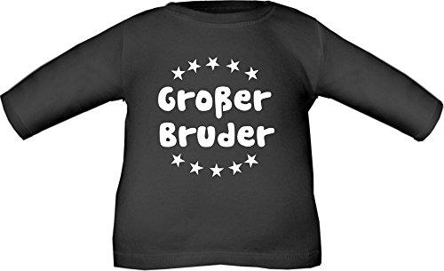 Baby / Kinder T-Shirt langarm mit Druck Großer Bruder / Größe 60 - 152 in 6 Farben Schwarz
