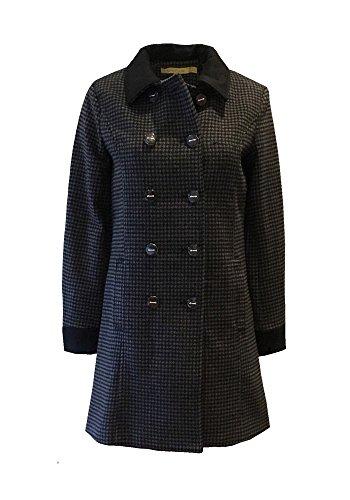 Joan Mantel, Wolle, Fantasie kariert mit schwarzen Kontrast, lange Ärmel, gefüttert, Taschen, zweireihig, grau und schwarz, Größe 38 (Mäntel-jacken Rabatt)