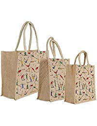 CSM Jute Bag/Lunch Bag/Shopping Bag - Combo Of 3 Printed Multipurpose Jute Bags