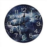 Hectwya Storm Lightning Orologio da Parete 25CM Silent Non Ticking Decorative Round Clocks