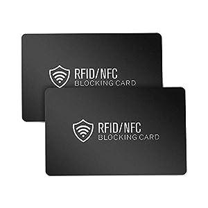 RFID Blocker Karte (2 Stück) – PUAIDA Kontaktloser NFC Schutzkarte – Neueste Störsender Technologie – 13.56MHz Kreditkarte Schutz für Geldbörse – Geschenk für Männer und Frau