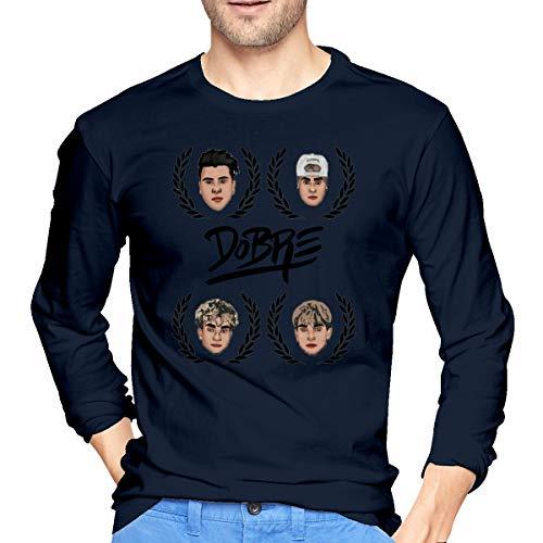Herren Dobre-Twins-Dobre-Brothers Logo T-Shirt für Herren Tee T Shirt Langarm Tshirt mit Rundhalsausschnitt Kleidung Navy XL -