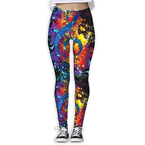 Trainingsgamaschen,Galaxy Music Note Watercolor Women's Stretchable Sports Running Yoga Workout Leggings Pants ()