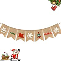 SWYOUN Burlap Merry Christmas Banner with Snowflake Party Mantel Fireplace Garland Supplies Decoration