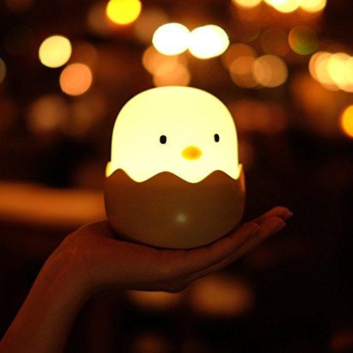 CHIMAKA Neue HC-03 Ei Form Küken Lampe USB Wiederaufladbare Touch-Schalter Einstellbare Helligkeit Kind Nacht Lig Neues Beleuchtungszubehör (Color : White LED) -