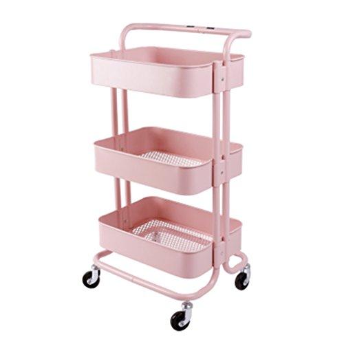 Tysjshg Wandregal montiert Küchenregal mit Ablagefächern Trolley Shelf DREI Schichten von beweglichen Regalen Rollregale (Color : Pink)