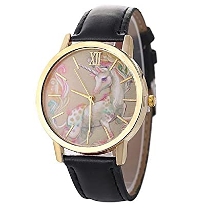 Homim Artificial Leather Strap Simple Dial Quartz Watch Cartoon Colorful Unicorn Print for Teen Students : everything £5 (or less!)