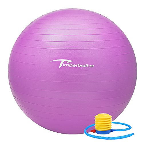 Timberbrother Anti-Burst Exercise Ball / Swiss Ball 65cm Diameter with Pump for Yoga, Pilates, Fitness, Physical Therapy, Gym and Home Exercise (Violet)