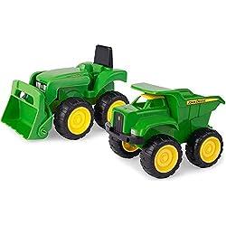 TOMY - Coffret Mini Camion Benne et Tracteur Miniature de John Deere 42952, Véhicules de La Ferme Jouet, Jouet Éducatif, Voiture Miniature Adaptée aux Enfants dès 3 ans+