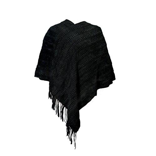 MANUMAR Ponchos für Damen   Strick-Cape in schwarz mit Fransen   Überwurf Cape   Umhang   Wendeponcho Perfektes Herbst/Frühling/Winter Accessoire  