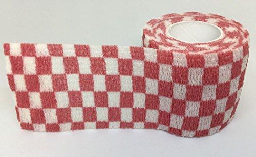 5cm Haftbandage in rot und White Squares X 4Rollen ideal für Equestrian, kleine Tiere und allgemeine Umreifung Unterstützung -