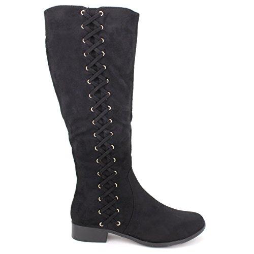 Cendriyon, Botte peau cuir noire FASHIONA Lacets Chaussures Femme Noir
