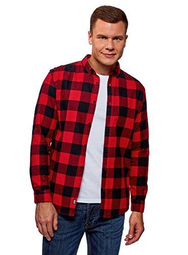 Oodji ultra uomo camicia in cotone a quadri, rosso, 42,5 сm/it 50-52 / l