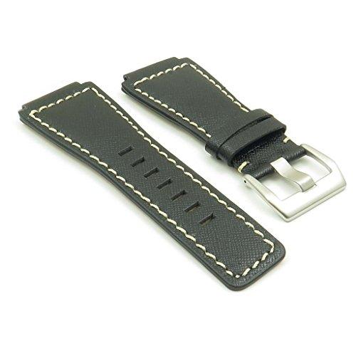 strapsco schwarz W/Weiß Naht Saffiano-Leder Band Uhrenarmband für Bell & Ross Größe 24mm