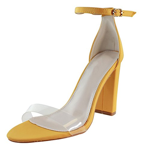4d24cb80895 Larena Fashion New Womens High Block Heel Sandals Clear Transparent Ankle  Strap Shoes Sizes