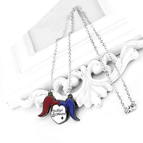 YinXX Niedliche Harley Quinn Selbstmordkommando DC Comics Zubehör Metall Halskette Anhänger Charme Geschenke Für Teen Boy Girl Bester Freund/Sammlung