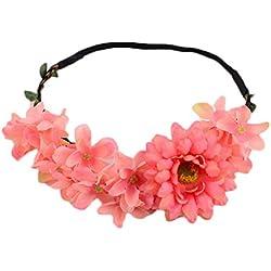 JUNGEN® Diadema de flor para mujers guirnalda de flores con Margarita Elegante Floral corona para novias accesorios disfraces para fiestas (Rosa oscuro)
